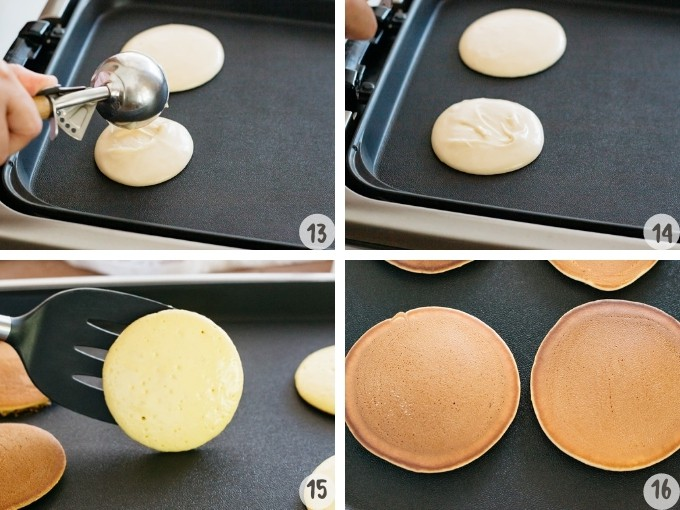 4 photos collage showing frying dorayaki batter on a hot plate