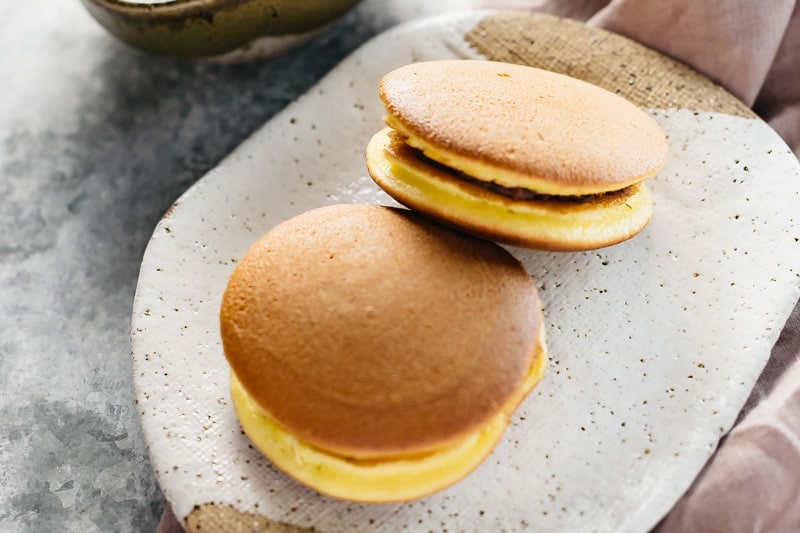 Two Dorayaki pancakes served on a plate