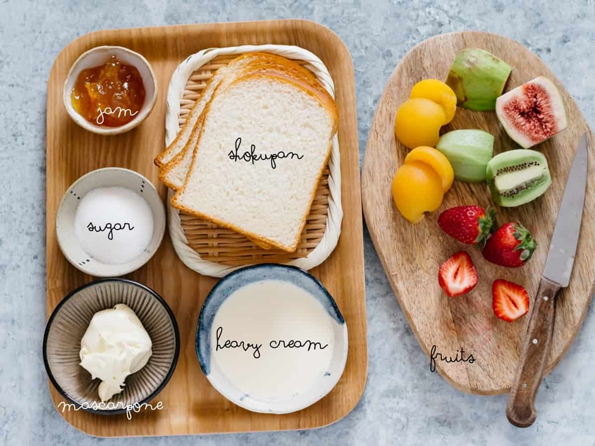 Various fruit fillings on the right, 4 slices of shokupan bread, heavy cream, mascarpone, sugar and jam