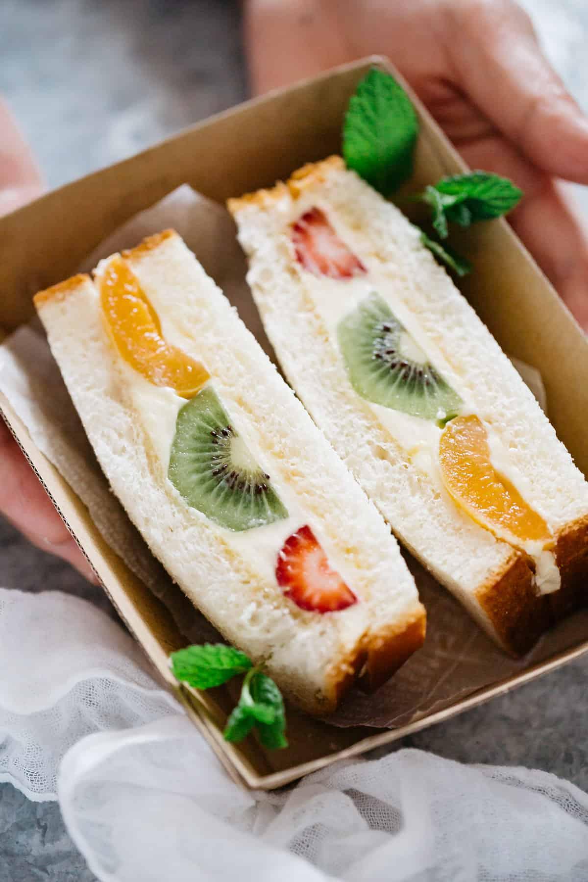 Fruit Sandwich in a takeaway cardboard container