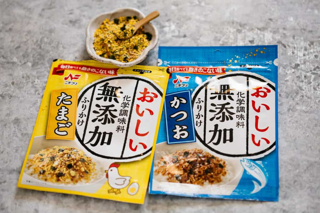 two commercially made Japanese rice seasoning packets