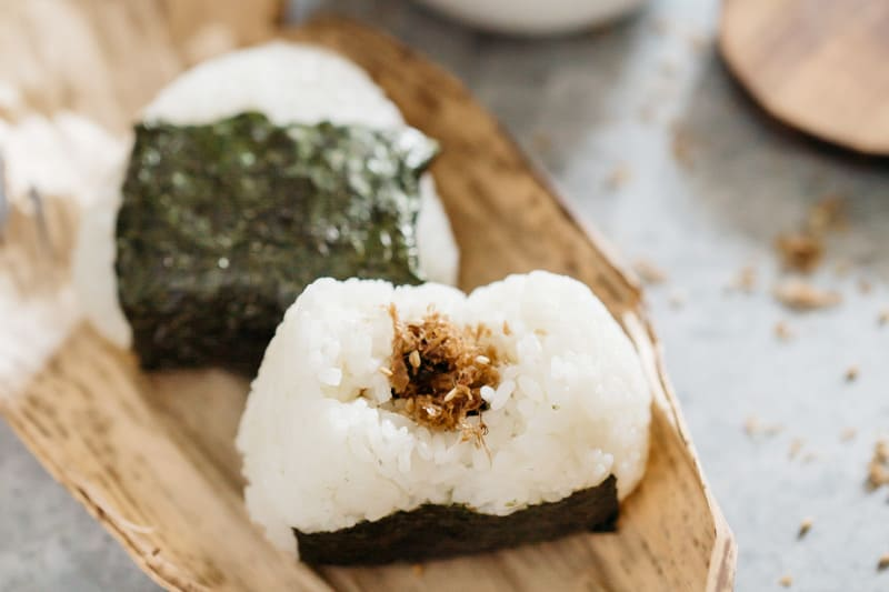 Rice seasoning in onigiri rice balls.