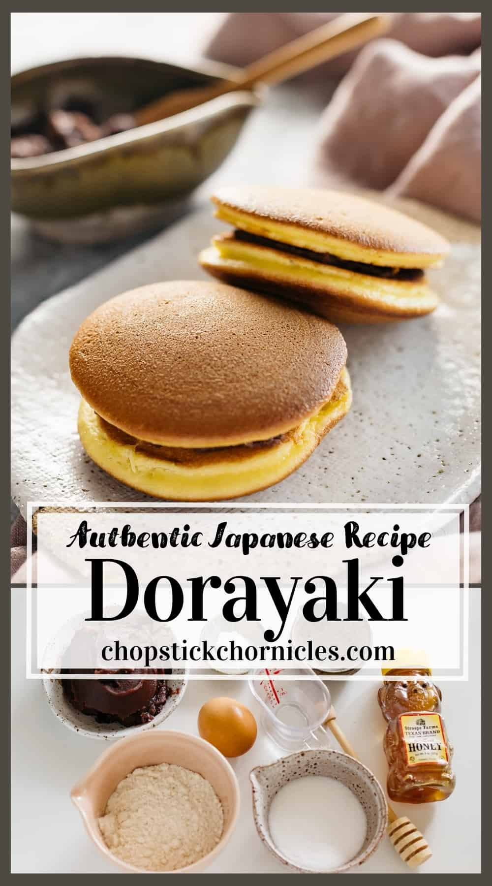 Dorayaki image collage for pinterest sharing with text overlay