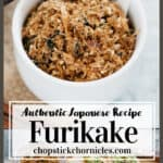 Furikake rice seasoning image for pinterest pin with text overlay