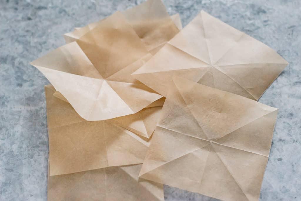 4 x 4 inch cut parchment paper