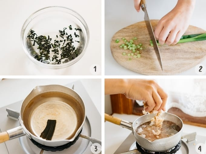 step by step making miso soup in 4 photo collage