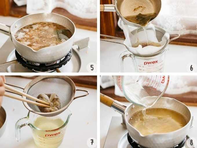 4 photo collage of making miso soup - showing preparing dashi stock