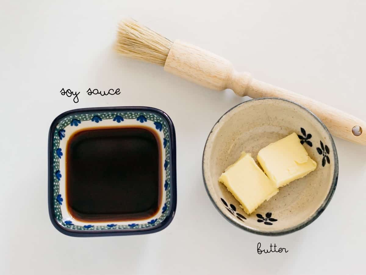 Soy sauce,  and butter
