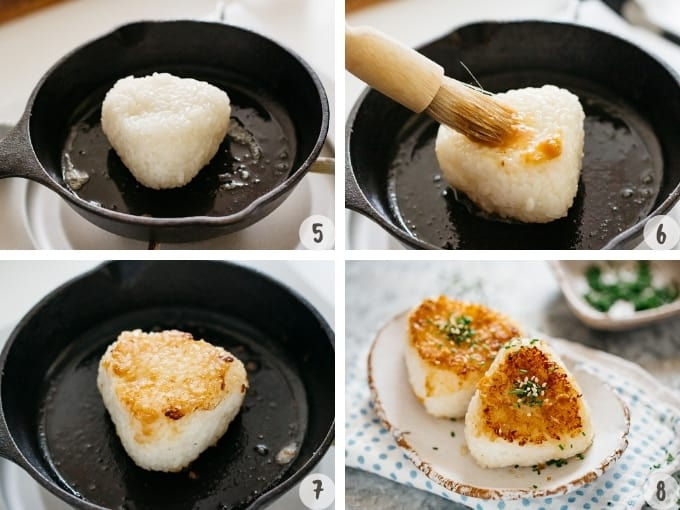 4 photo collage showing how to grill rice ball in a cast iron skillet