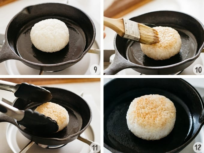 4 photo collage showing how to brush sauce on grilled rice balls