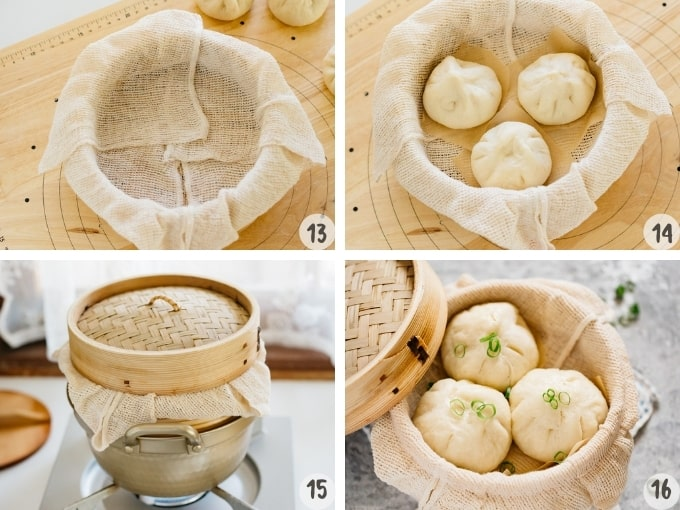4 photo collage showing how to steam the pork buns using a bamboo steamer
