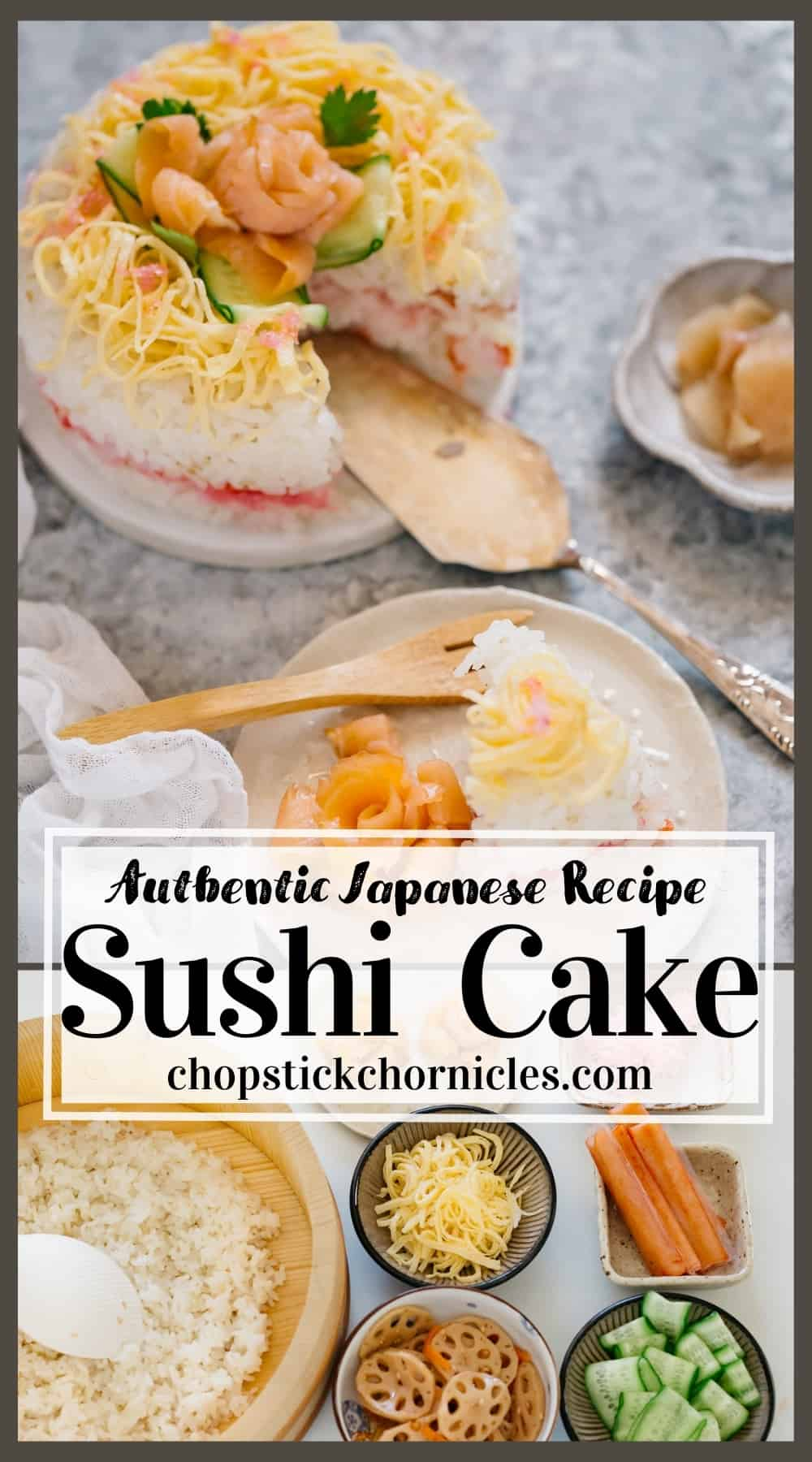 sushi cake image collage with text overlay for pinterest