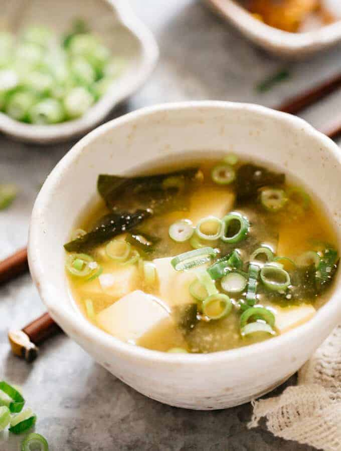 Tofu and wakame miso soup served in a bowl