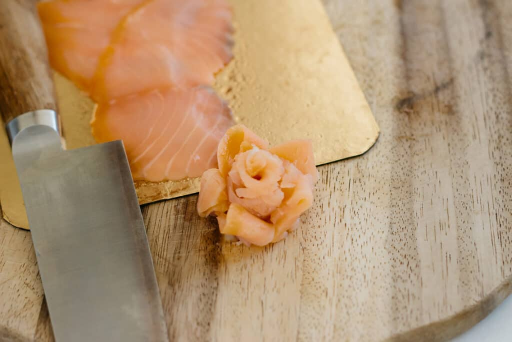Thinly smoked salmon and smoked salmon shaped like a rose