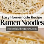 two ramen noodles image collage with text overlay for pinterest pin