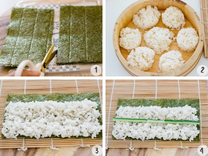 4 photo collage showing preparing nori sheets and sushi rice