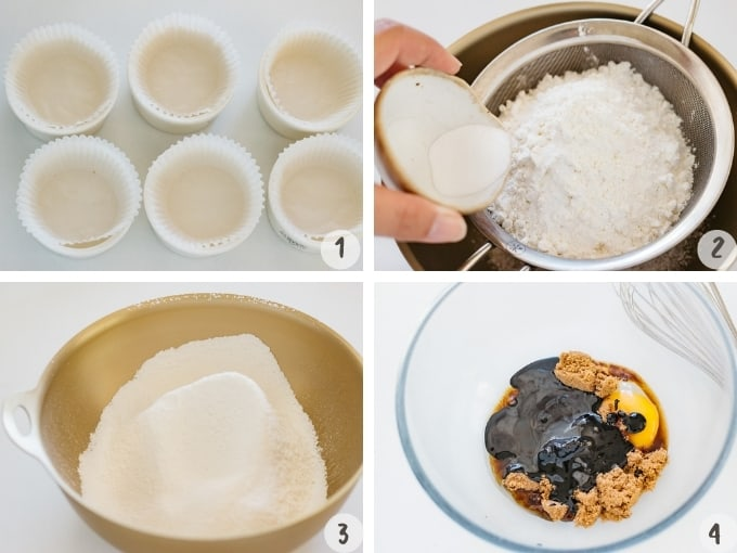 4 photo collage showing shifting flour, and mixing all wet ingredients