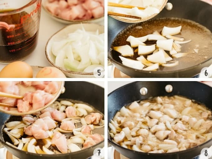 4 photo collage showing step by step photos of cooking ingredients in a frying pan