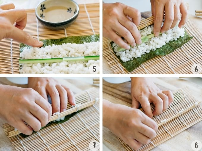 4 photo collage showing how to roll sushi with a bamboo mat