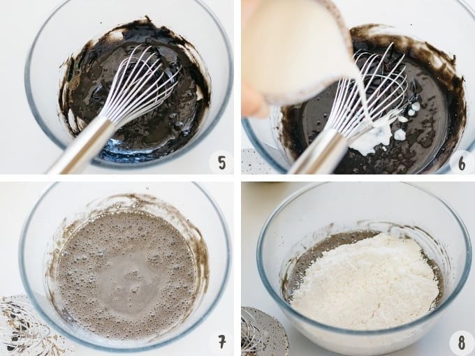 4 photo collage showing mixing wet batter and mixing flour