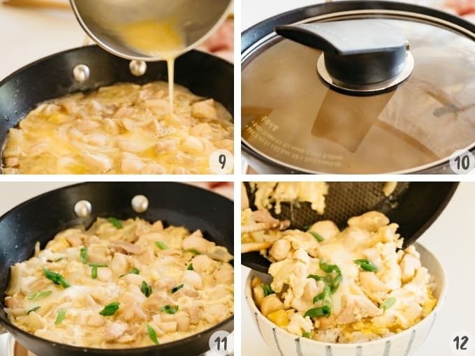 4 photos collage of pouring beaten eggs into a frying pan and cook