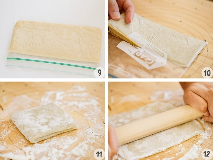 rolling and cutting rested ramen noodle dough in 4 photo collage