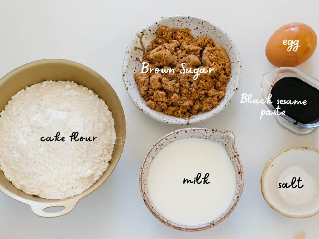 cake flour, brown sugar, an egg, milk, baking powder and black sesame paste