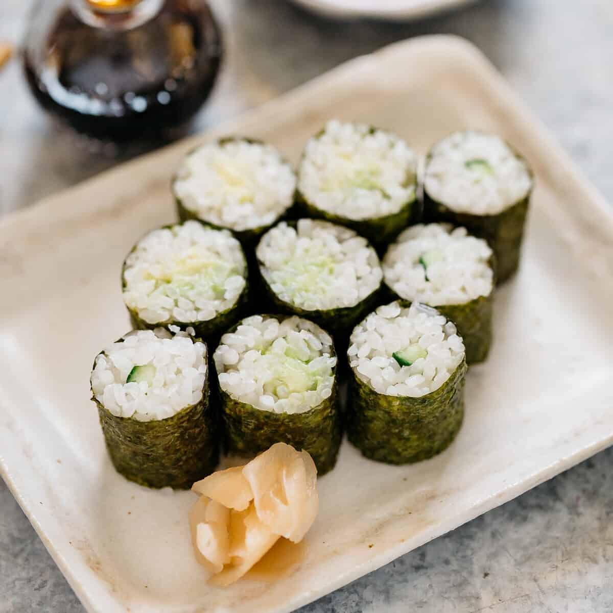 9 pieces of hosomaki rolls on a plate