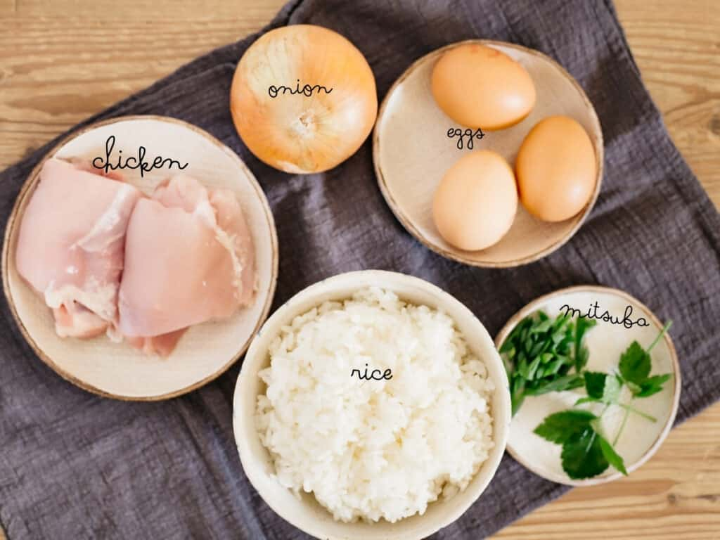 chicken thigh, an onion, three eggs, a bowl of cooked rice and mitsuba