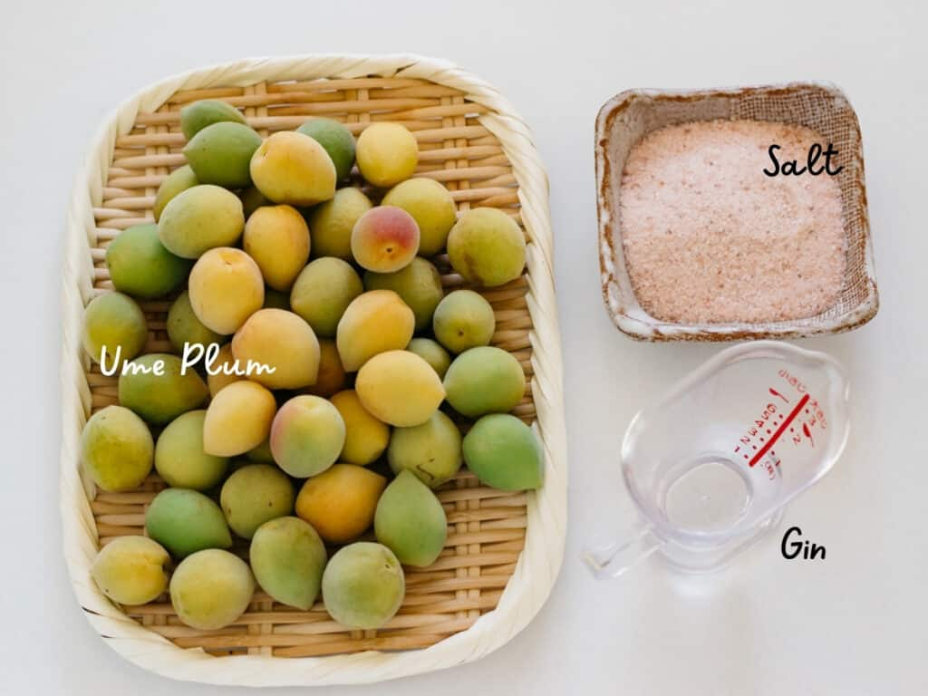 lipe ume plum fruits on a bamboo tray, salt, and Japanese in small containers