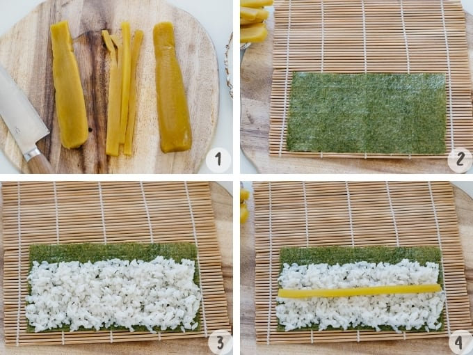 4 photo collage of making Oshinko roll cutting oshinko, placing nori sheets, rice and oshinko on a sushi rolling mat