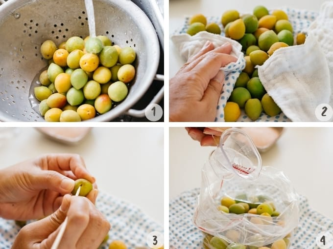 washing ume and removing calyx, and applying gin over plums