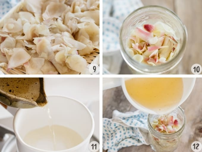 4 photo collage showing making rice vinegar mixture and pickling ginger with it