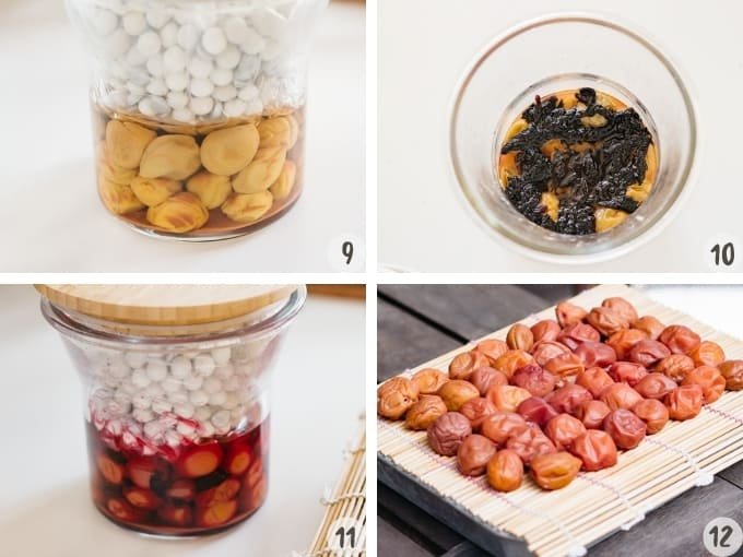 placing weight on ume plums, and adding massaged red shiso leaves into the preserving jar and sun drying umeboshi in a collage of 4 photos