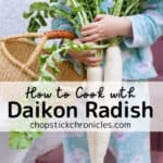 Daikon radish image for pinterest with text overlay