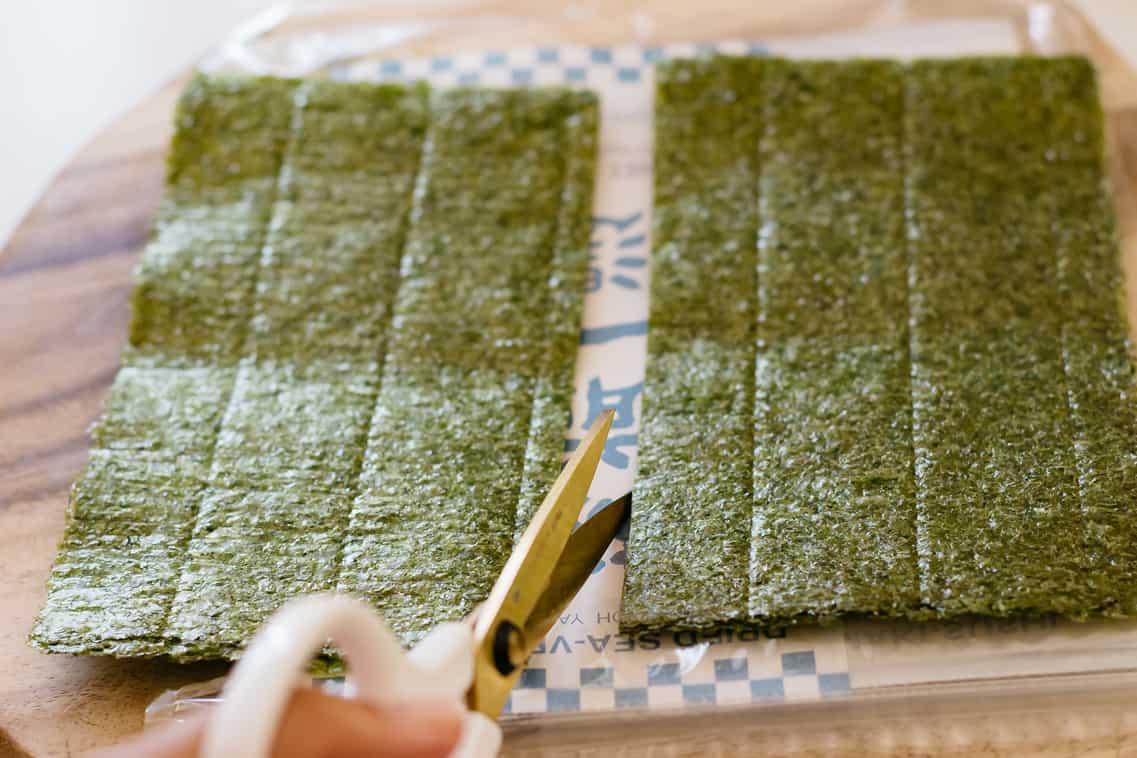 cutting nori seaweed sheets in half