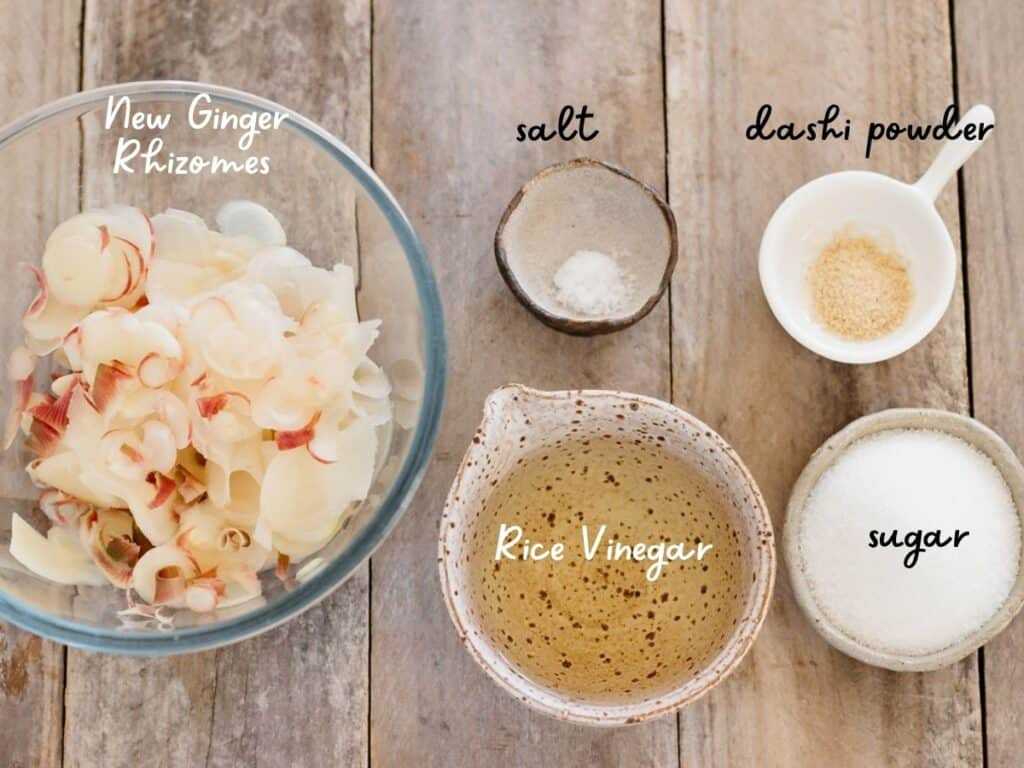 washed and sliced new ginger rhizomes in a bowl, rice vinegar, sugara, salt and dashi powder in small bowls