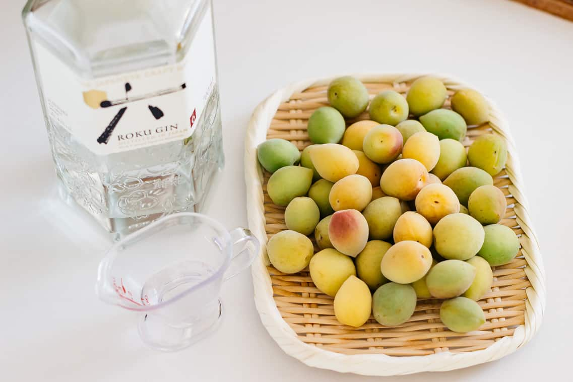 Lipen ume plum fruit on a bamboo tray and A bottle of Japanese gin
