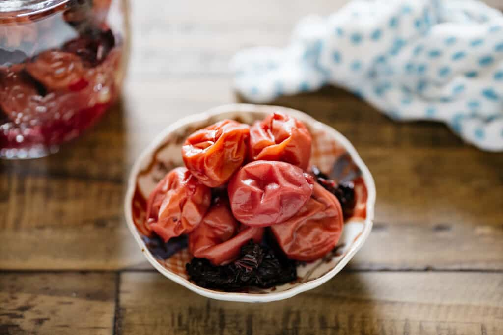 a pile of Umeboshi on a small plate