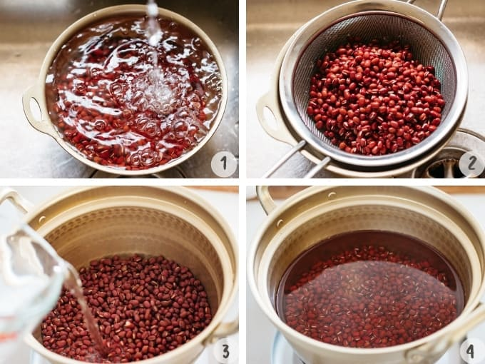 4 photo collage of washing, draining and cooking the red beans