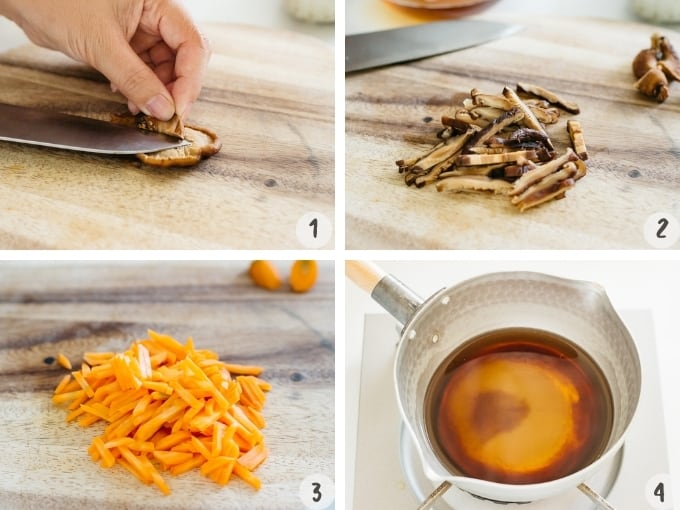 a 4 photo collage showing removing stem, slicing shiitake mushrooms, carrots and placing all seasoning ingredients into a saucepan