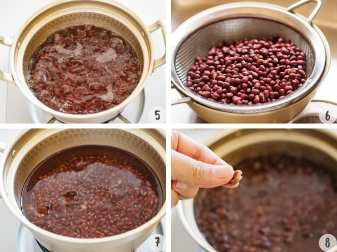 4 collage of step by step instructions of simmering azuki beans