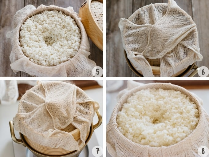 4 photo collage showing how to steam rice with bamboo steamer