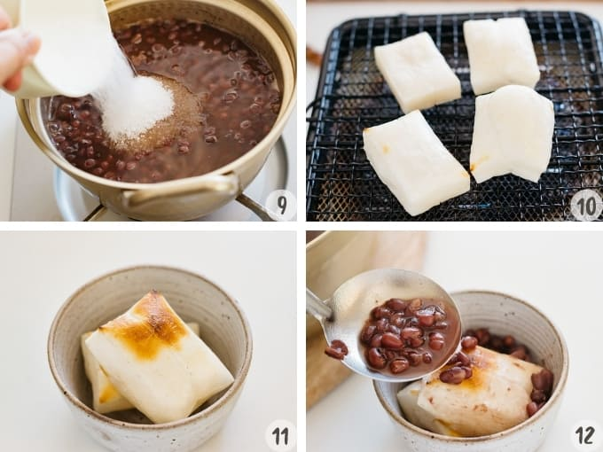 4 photo collage of adding sugar to azuki bean soup, and toasting mochi and assembling all together into a bowl