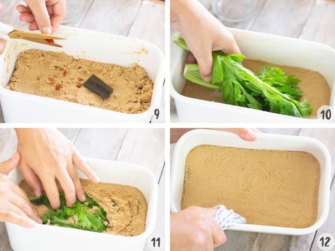 4 photo collage showing adding kombu kelp, chilli to rice bran mixture and submarging vege scrap for test pickle
