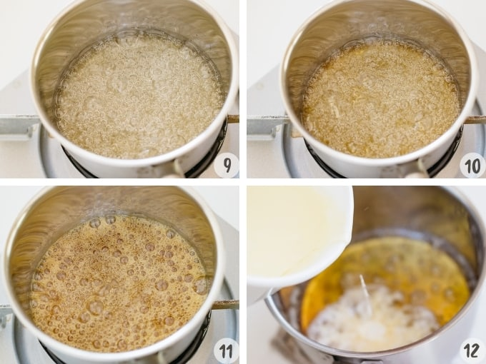 a collage of 4 photos showing the sugar mixture changing colour into brown