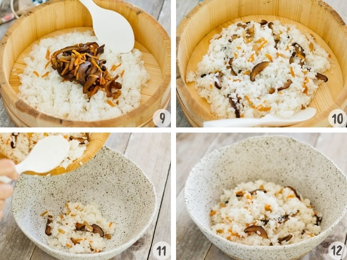a 4 photo collage showing mixing in ingredients mixed into sushi rice in a wooden tub