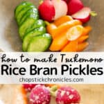 rice bran pickles nukazuke image collage for pinterest pin with text overlay
