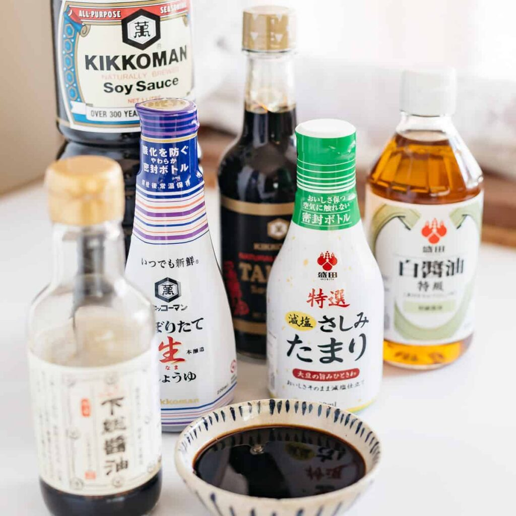 6 different bottles of Japanese shoyu