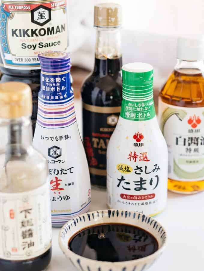 6 different bottles of Japanese shoyu